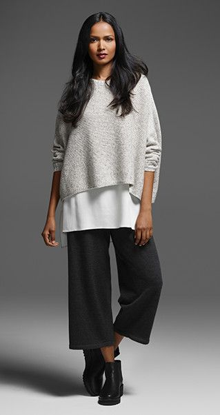 EILEEN FISHER New Arrivals: Cashmere Silk Tweed Box-Top, Silk Shell, Wide-Leg Wrap Pant + Chelsea Bootie