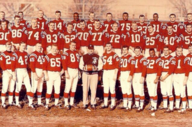 Picture of the first Patriots team. The 1960 season ended with a record of five wins and nine losses under head coach Lou Saban, which set them last in the AFL's Eastern Division. The team played their home games at Boston University's Nickerson Field (formerly the site of the Boston Braves' home ballpark Braves Field).