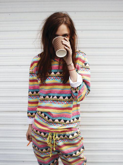 Colorful print suit!