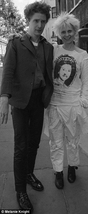 Vivienne Westwood and Malcolm Mclaren. Westwood is wearing a famous Sex Pistols slogan T-Shirt.