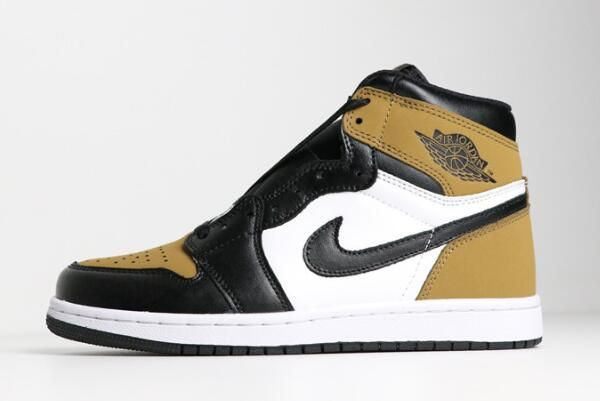 42567db905de 2018 Air Jordan 1 Retro High OG Rookie of the Year Gold Harvest Black Shoes