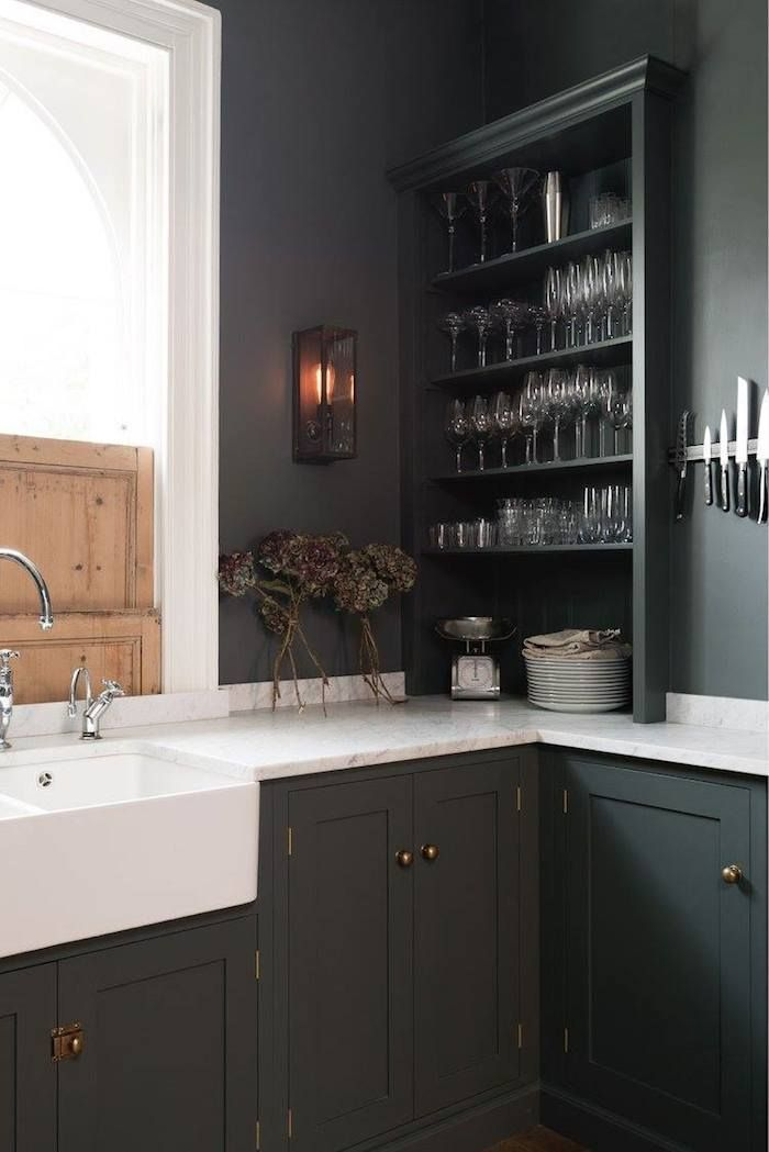 grey kitchen cabinets with white countertop