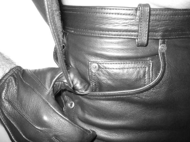 Premium Black leather police search motorbike gloves Bluf gay uniform