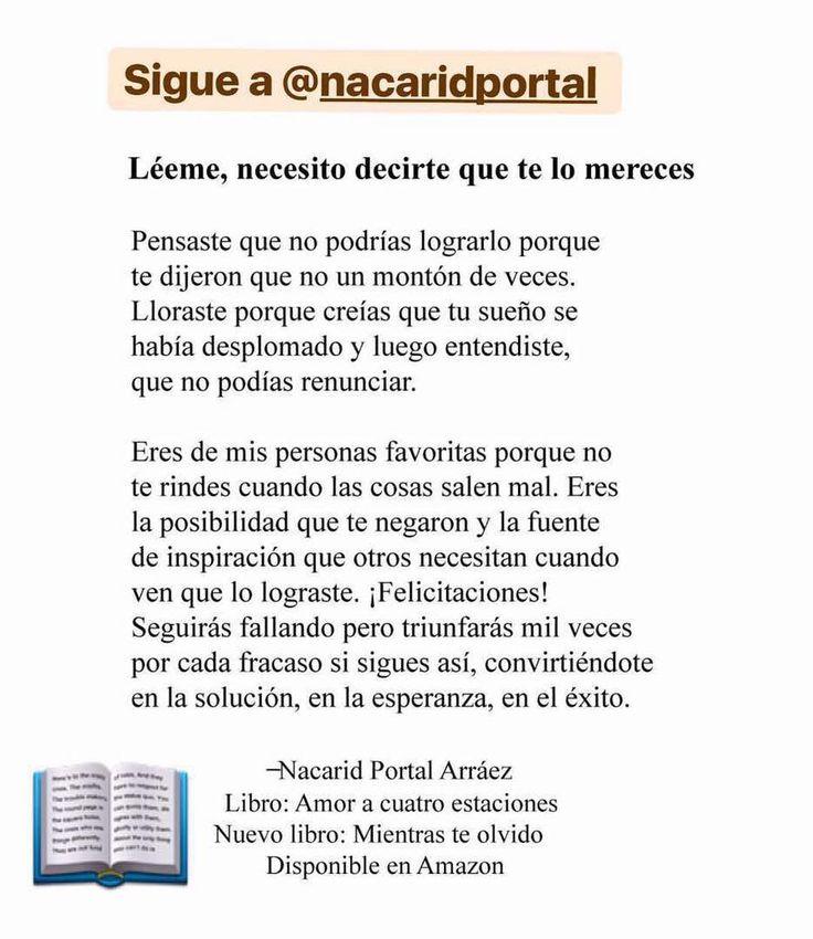 Les recomiendo a la escritora: 📝 @nacaridportal 📝 @nacaridportal 📝  @nacaridportal  Síguela en su canal de YouTube/NacaridPortal  La autora del bestseller @amoracuatroestaciones @amoracuatroestaciones tiene nuevo libro: 🔝 totalmente a color @mientrasteolvido para que superes y no pierdas más tu dignidad ni tus lágrimas 📖 @mientrasteolvido 📖 @mientrasteolvido  Puedes conseguir sus libros en  Amazon.com 🔝 y en e-bay pero también con los embajadores en tu país: 👇🏽👇🏽👇🏽 📖Argentina…