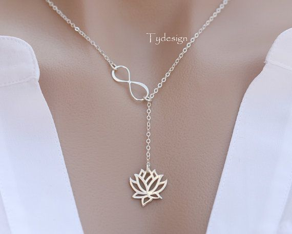 Sterling Silver infinity Lotus lariat necklaceMother by tydesign
