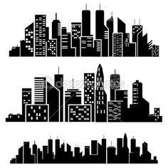 Gotham City Skyline Outline Vector cities silhouette