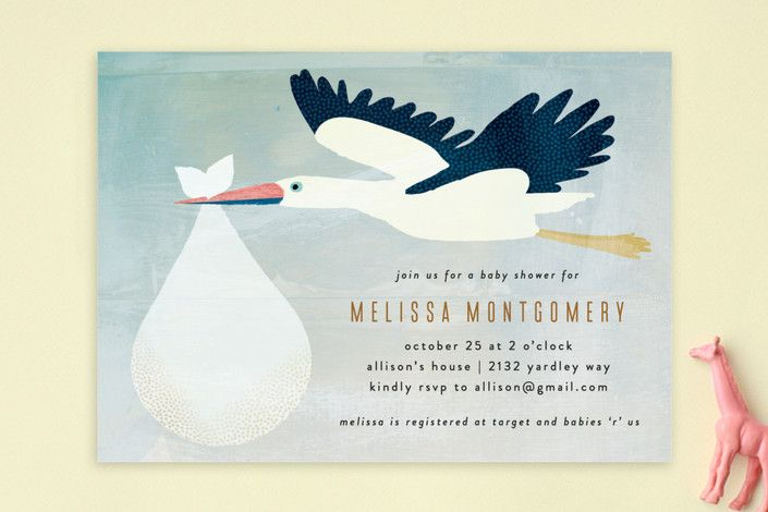Sweet Delivery Baby Shower Invitations by Rebecca Bowen at minted.com