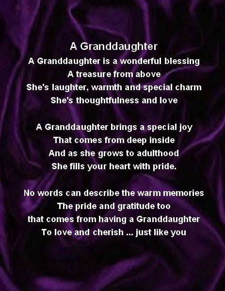 Fridge Magnet  Personalised  Granddaughter Poem - Purple  Silk  + GIFT BOX