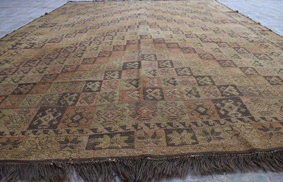 Size: 276 x 207 cm, Beautiful Handmade Vintage Afghan Best Quality Soumak Area Kilim, Decorative Han
