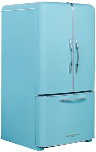 Elmira Stove Works - A new vintage style Northstar refrigerator. In turquoise!  It also comes in PINK too!!!!