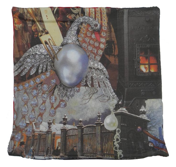 Luxury cushion that shows part of the famous story The Little Match Girl by Hans Christian Andersen. #swan #hcandersen #cushion #pillow #decor #digitalprint #cushionsale #shop #handmade #buy #art #fairytale #homedesign #print #interiordesign #luxury #story #forbed