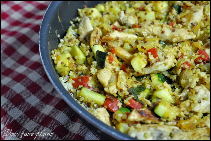 Poêlée de quinoa, dinde et légumes du soleil