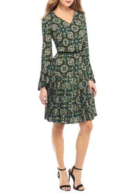 The Limited Women's Printed Bell Sleeve Pleated Dress - Tiled Print Mykonos - 12