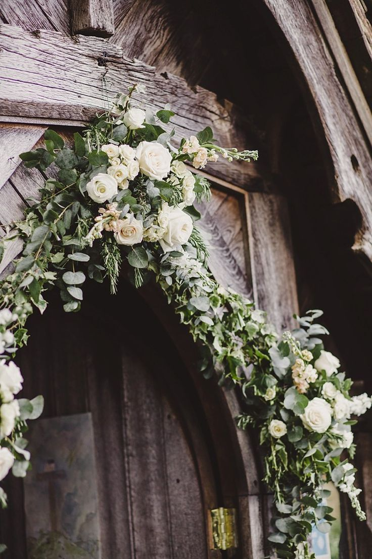 White Rose Foliage Flowers Arch Church Country Chic Sage Green Marquee Wedding http://www.lolarosephotography.com/