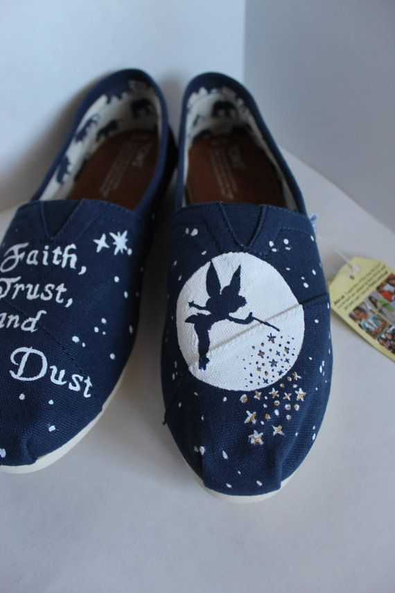 This pair of hand painted TOMS is designed after the character Tinkerbell from Disneys Peter Pan. The price includes both the pair of shoes and