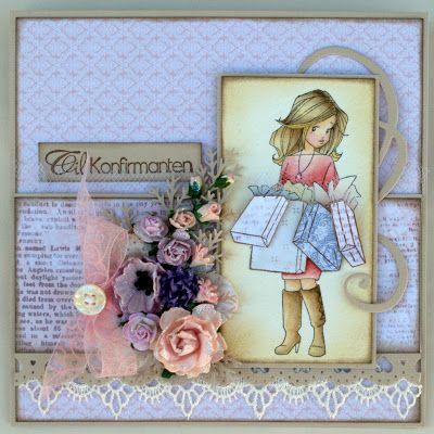 Annes lille hobbykrok: WOJ, Girl card, konfirmant, Distress Ink