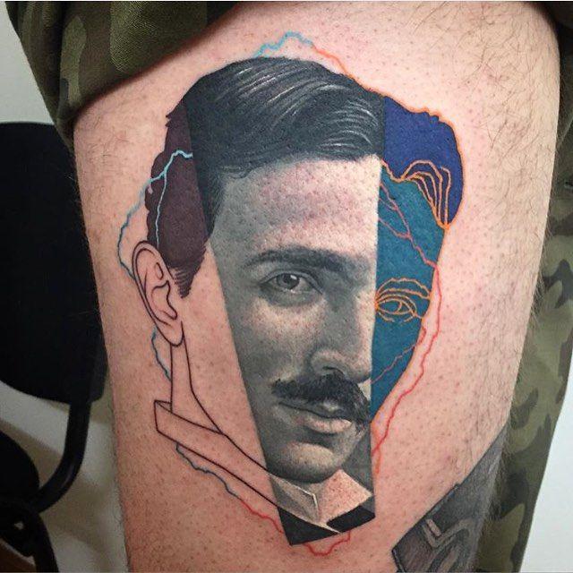 Nikola Tesla design and photo © Dzikson Wildstyle @dzikson_tattoos Poland • Dzikson.wildstyle@gmail.com