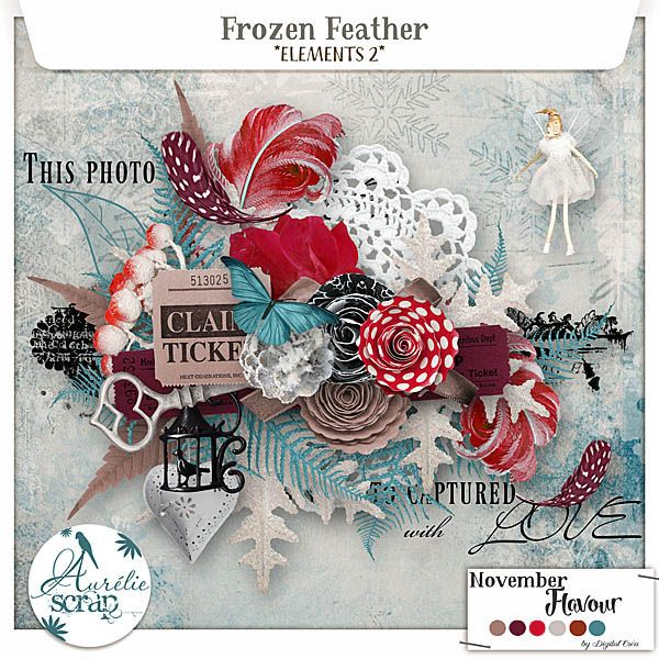 Elements 2 - Frozen Feather What inspired me this month is the season of the winter which does not delay. Small feathers by this, flowers there!! I wish you precious moments and propose you in this pack of elements created only for November Flavour 2017... #scrap #scrapbooking #digital #inspiration #DIY
