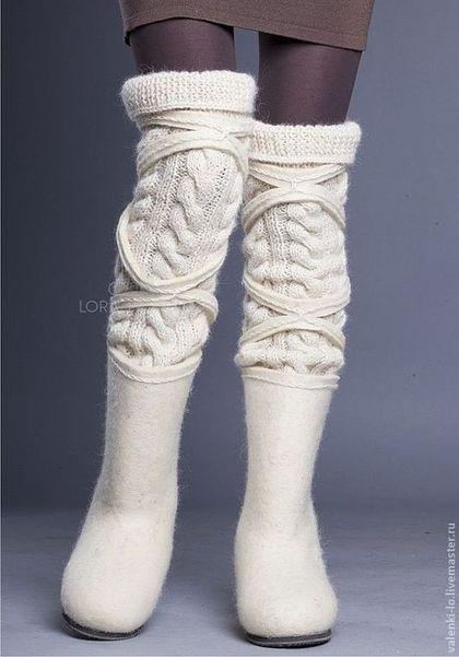 Обувь ручной работы. Ярмарка Мастеров - ручная работа. Купить W&W 2013 белые. Handmade. Белый, валенки для улицы
