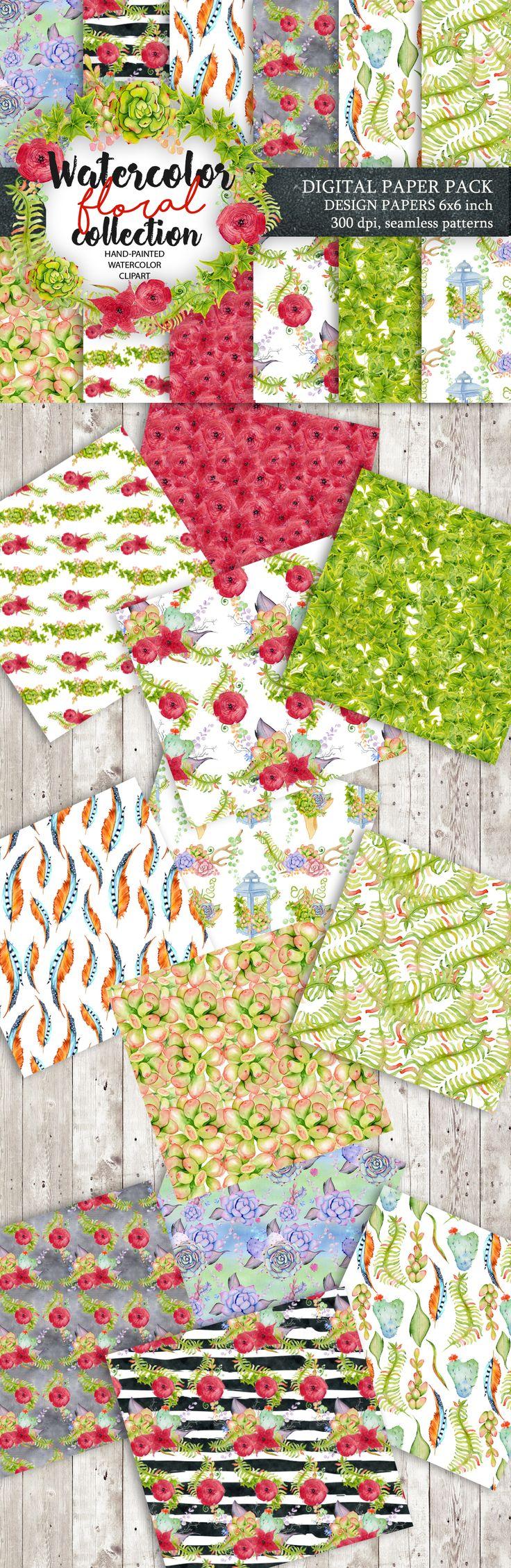 Digital Paper Pack, Waterclor seamless pattern, Watercolor Backgrounds, Floral Scrapbook Paper, Wedding Floral, DIY Pack, Instand download
