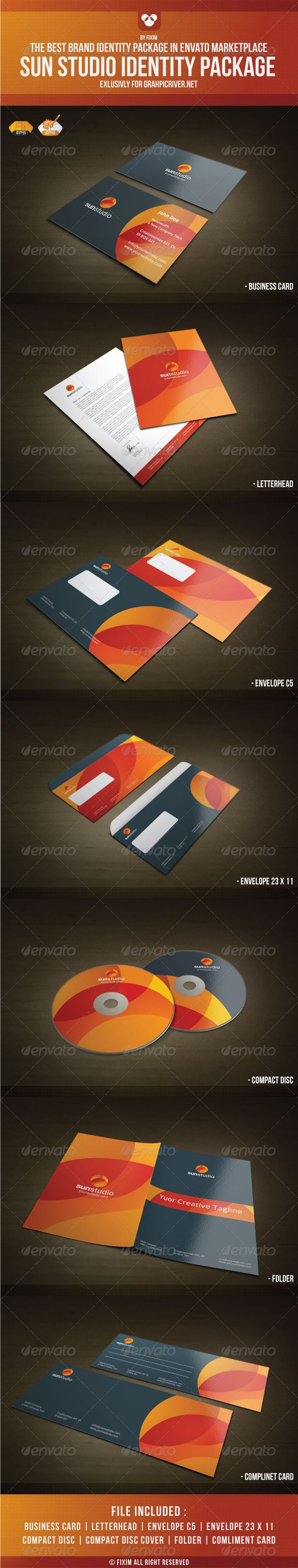 Sun Studio Identity Package #GraphicRiver What Do You Get? Vector Logo Business Card (3.5×2) Letterhead (DIN A4) Compact Dics (Regular CD/DVD Size) Compact Dics Cover Envelope C5 (DIN C5) Envelope 23 X 11 .5 Compliment Card (Half DIN A5 ) Corporate folder (A3) Fully Editable Font used in all package its: Open Sans Download Here I'm ready for freelancer work.If u need any custom design please feel free to contact me in my personal e-mail. NOTE : Logo included in the file. Created: 11April12…