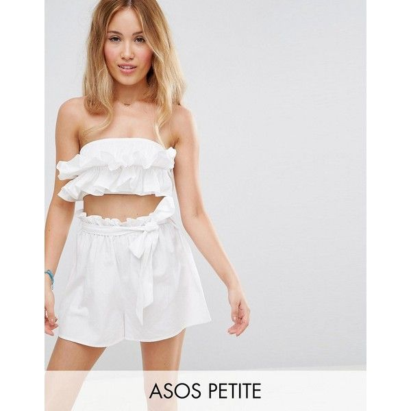 ASOS PETITE Beach Co-ord Bandeau Top with Ruched Frill Detail ($23) ❤ liked on Polyvore featuring tops, petite, white, short crop tops, bandeau bikini tops, ruffle top, strapless tops and white strapless top