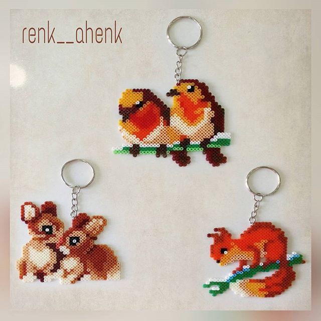 Forest animal keyrings hama mini beads by renk__ahenk