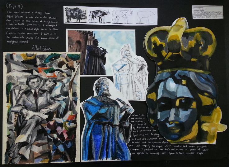 In this page Anoof further examines cubism using oil pastel and acrylic. He started with a study from the work of Albert Gleizes and then looking at Picasso's method of breaking objects into smaller simpler shapes and lines he tried this with a picture from one of the statues he saw in Antwerp. He also tried another study of the child statue.