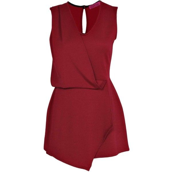 Boohoo Alaina Wrap Front Skort Style Playsuit ($20) ❤ liked on Polyvore featuring jumpsuits, rompers, dresses, playsuits, vestidos, jumpsuits and rompers, romper, red rompers, jumpsuit and boohoo jumpsuits