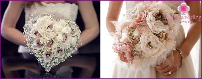 Bukiet ślubny z ich rąk, idea produkcji, krok po kroku kreatora klasy zdjęcie