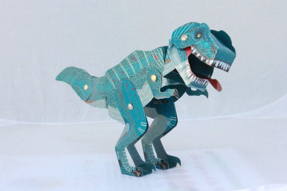 T-Rex to cut and Assemble. Make your own toy.  Being made of laminated paper, the dinosaur once assembed is very durable.  Not suitable for children