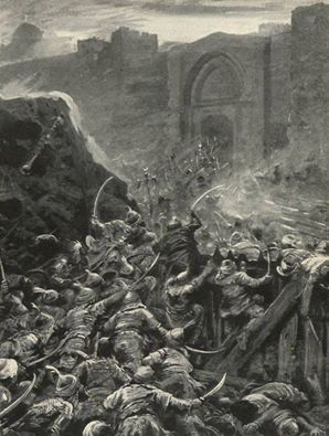 الهجوم العُثماني الأخير بقيادة السلطان محمد الفاتح على القسطنطينيَّة عاصمة الامبراطوريه البيزنطيه عام 1453م