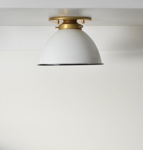 Dome Brass black white Industrial modern wall sconce ceiling light lamp.  Semi-flush Mount. UL LISTED