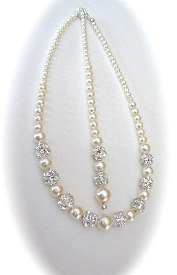 Pearl necklace ~ Backdrop ~ Brides necklace ~ Backdrop wedding necklace ~ Bridal jewelry ~ Swarovski pearls and crystals fireballs ~DESTINY
