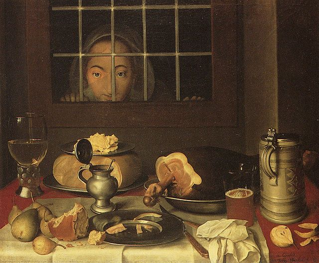 Woman Looking at a Table is a work by Wolfgang Heimbach. It's intriguing to see a painting which breaks the stillness of still-life by putting in – paradoxically – a silent onlooker. She seems to be very hungry. This painting is on the cover of...