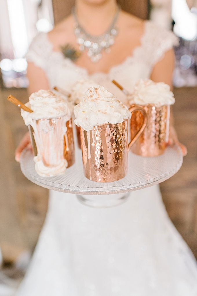 winter wonderland wedding south africa%0A hot cocoa in copper mugs are the perfect drinks for winter weddings
