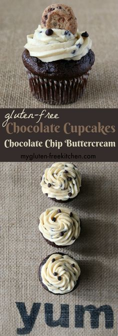 Gluten-free Chocolate Cupcakes with Chocolate Chip Buttercream Frosting. Perfect birthday party recipe!