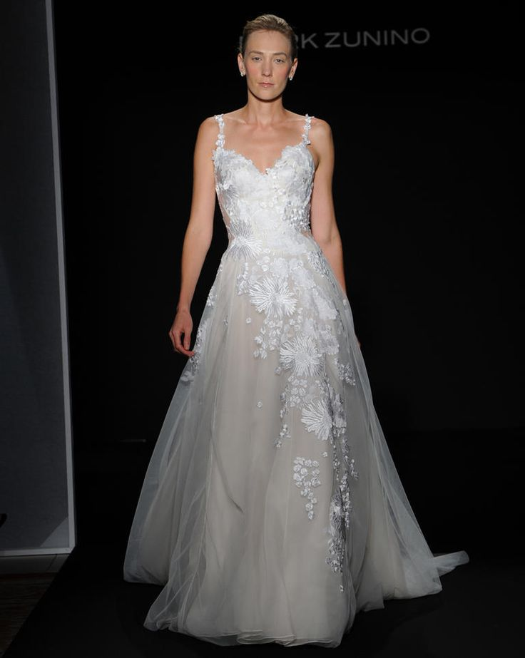 Mark Zunino Fall 2016 off-white over pale nude layered organza ball gown wedding dress with floral embroidered bodice | https://www.theknot.com/content/mark-zunino-wedding-dresses-bridal-fashion-week-fall-2016
