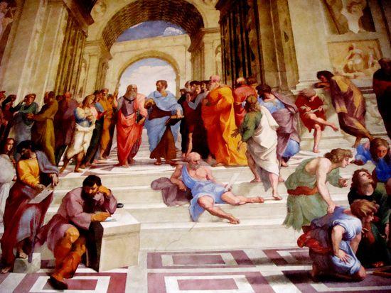 Szkoła Ateńska – malowidło ścienne namalowane przez Rafaela w latach 1509–1510, na zlecenie papieża Juliusza II. Fresk Szkoła Ateńska znajduje się w Pałacu watykańskim w części apartamentów papieskich nazywanych Stanza della Segnatura.