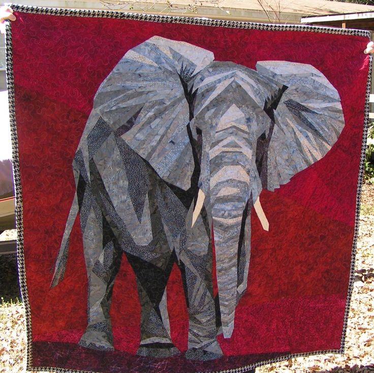 """Finished elephant quilt Roll Tide! Over 570 pieces. It took forever, 97 hours start to finish. Norman the Enormous Elephant. He is 55"""" x 55"""" Pattern from Silverlinings. Made with Hoffman batik fabrics. [Gift] Pieced and quilted by Jennifer Martin in Alabama https://www.etsy.com/shop/JenniferMartinQuilts?ref=hdr_shop_menu"""