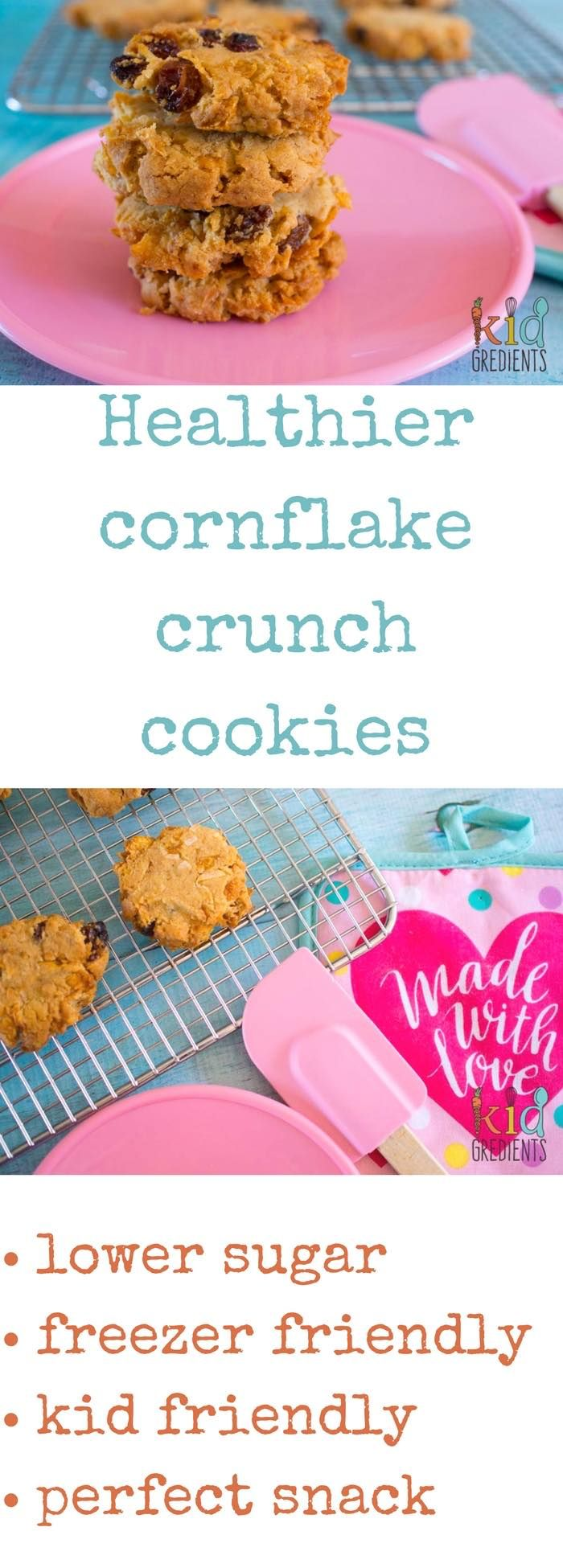 Healthier cornflake crunch cookies with low sugar and lots of crunch!  Perfect for snack time, and in the lunchbox, they also freeze really well.