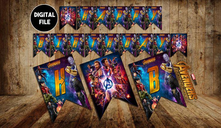 """Infinity War Banner """"Happy Birthday"""", Infinity War Party, Infinity War Birthday, Infinity War, birthday banner, infinity gauntlet, digital"""