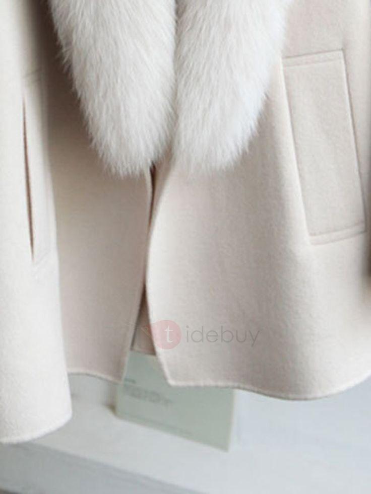 Große Pelzkragen Mode Damen Woll Mantel
