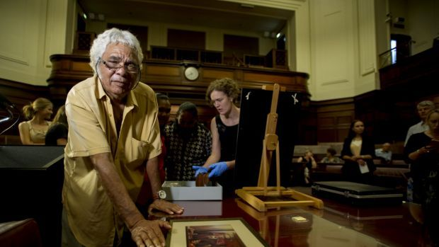 A bark painting charting Neville Bonner's remarkable life as Australia's first Indigenous Member of Parliament has joined a collection of his possessions in the Museum of Australian Democracy at Old Parliament House.