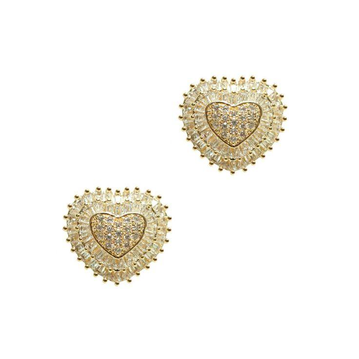 Brinco coração cravejado de zircônias e cristais baguete folheado a ouro  18kDimensões aproximadas Comprimento  90a80598ce