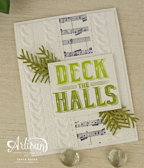Carols of Christmas, Sheet Music background stamp, Cable Knit embossing folder, and Pretty Pines framelits.