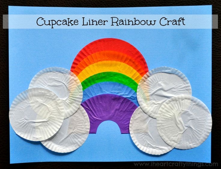 Kids Rainbow Craft made out of Cupcake Liners from I Heart Crafty Things.