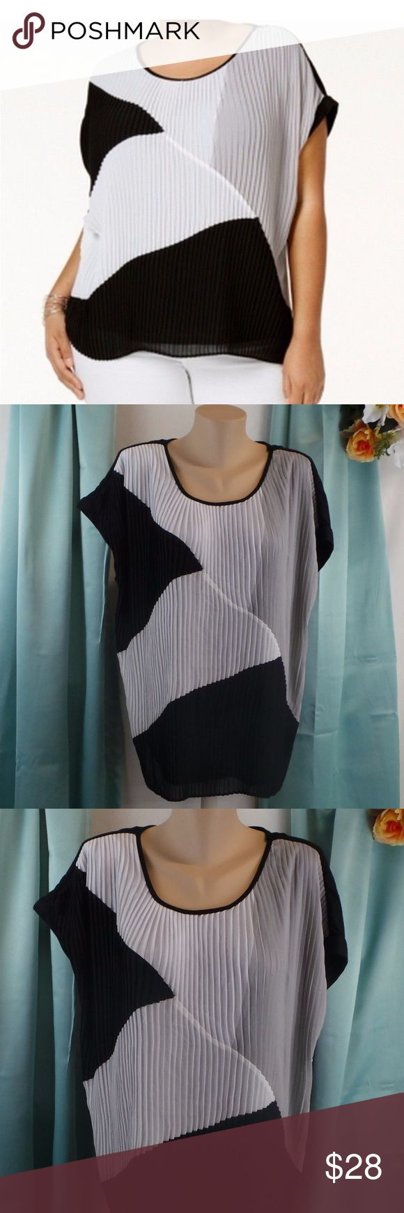 Pleat-Front Colorblock Blouse Accordion Neutral Brand: NY Collection  Color: Black, Gray, White Condition: New with tags  Product Details:  Size Type: Plus Size (Women's): 1X Lined: Yes Sleeve Style: Batwing, Dolman Style: Blouse Occasion: Casual Material: 100% Polyester   704974222627 AD15 NY Collection Tops Blouses