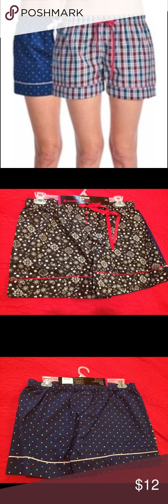 Bottoms out gal 2pk women Woven sleepwear boxers -2 women sleepwear boxers - comfy cotton fabric  - new and in good condition  - size large Shorts