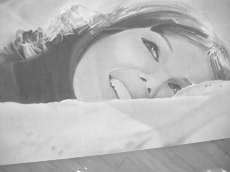 'Stefania II', 2012, Charcoal on paper, 36 x 72 inches.